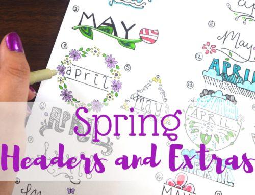 Spring Headers for Bullet Journals